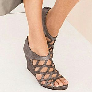 EILEEN FISHER Cage Lattice Wedge Sandals 8.5